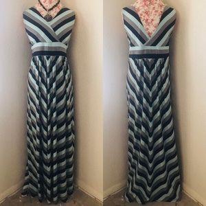 Torrid Blue & Grey Chevron Maxi Dress